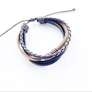 Leather Braided Stack Boho Bracelet